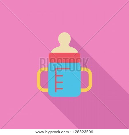 Feeding bottle icon. Flat vector related icon with long shadow for web and mobile applications. It can be used as - logo, pictogram, icon, infographic element. Vector Illustration.