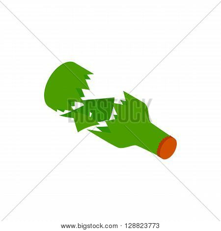 Broken green bottle icon in isometric 3d style on a white background