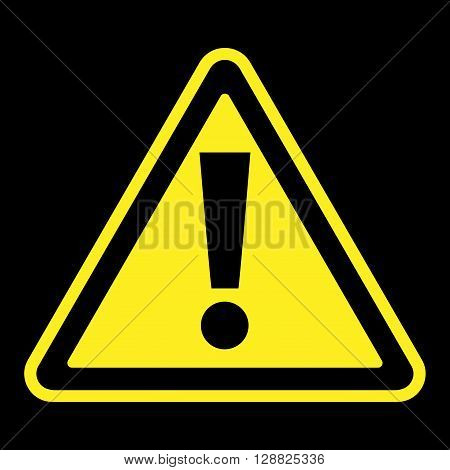 Hazard warning attention sign. Icon in a yellow triangle with exclamation mark symbol isolated on a black background. Traffic symbol. Stock vector illustration