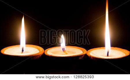 Butter lamps lit on the special occasion of hindus festival in KathmanduNepal.