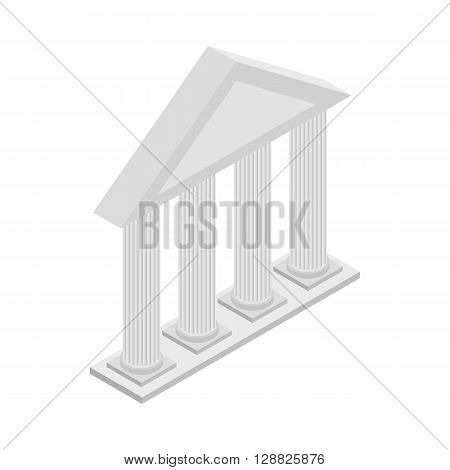 Greek Temple with columns icon in isometric 3d style on a white background