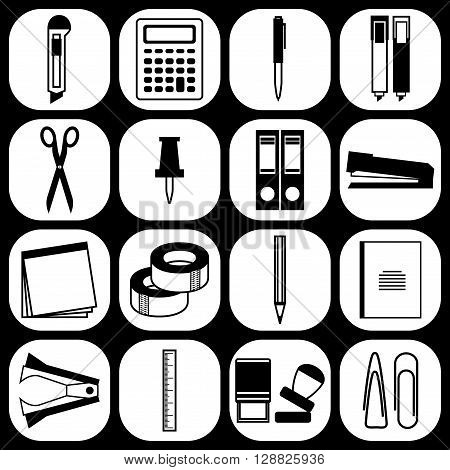 Stationery icons. Set of stationery supplies icons isolated on white background. For internet shopping school and office. Black and white color. Modern flat design. Stock Vector illustration