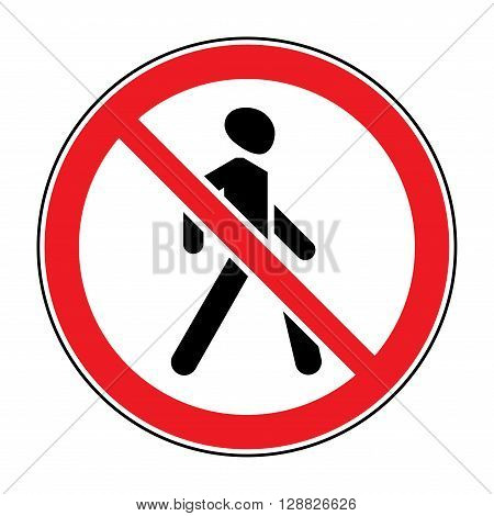 Prohibition No Pedestrian Sign. No walking traffic sign. No crossing. Prohibited signs silhouette of walking man isolated on white background. Stock vector illustration you can change color and size