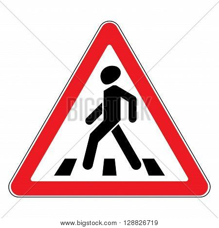 Traffic sign pedestrian crossing. Traffic sign zebra crossing. Illustration of triangular warning sign for pedestrian crossing. Stock vector