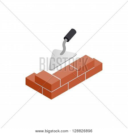 Brickwork and building trowel icon in isometric 3d style on a white background