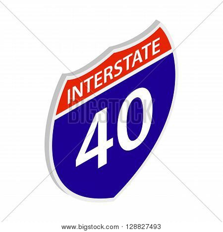 Interstate 40 sign icon in isometric 3d style on a white background