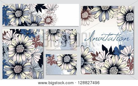 Corporate identity templates with hand drawn floral elements for business cards design save the date invitations brochures and others