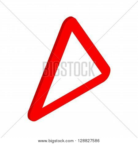 Red triangular blank road sign icon in isometric 3d style on a white background