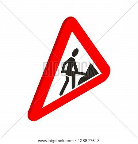 Roadworks sign icon in isometric 3d style on a white background