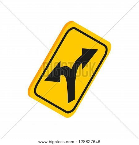 Fork in the road sign icon in isometric 3d style on a white background