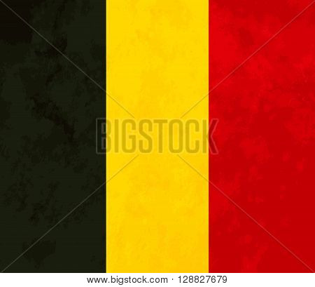 True proportions Belgium flag with grunge texture
