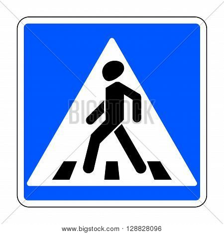 Pedestrian crossing sign. Traffic sign zebra crossing. Illustration of blue square warning sign for pedestrian crossing isolated on white background. Stock vector illustration