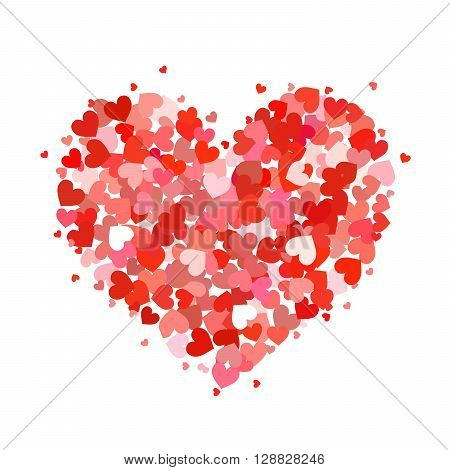 Heart made up of little pink and red hearts isolated on white