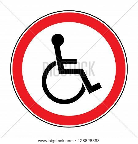 Disabled sign. Handicapped person icon isolated in the red circle on white background. Illustrations of prohibiting warning emblem and not permissive symbol for the disabled. Vector