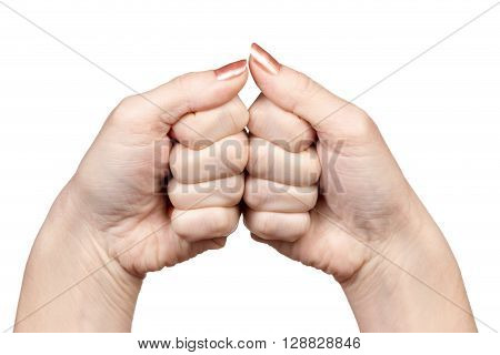 Gesture female hands two fists in contact with each other isolated on white background