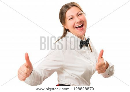 Emotional Portrait Of A Happy Girl In The Costume A Waitress