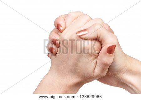 Gesture female hand hand in hand indicating friendship isolated on white background