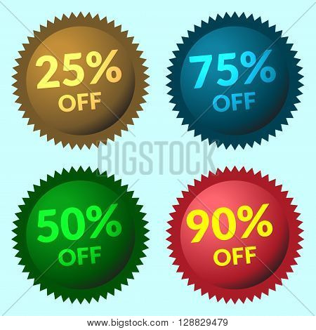 Colorful round stickers. Red green brown and blue discount price tags on light-blue background. Set of colorfull sale stickers and labels. Collection sale discount banners. Vector illustration