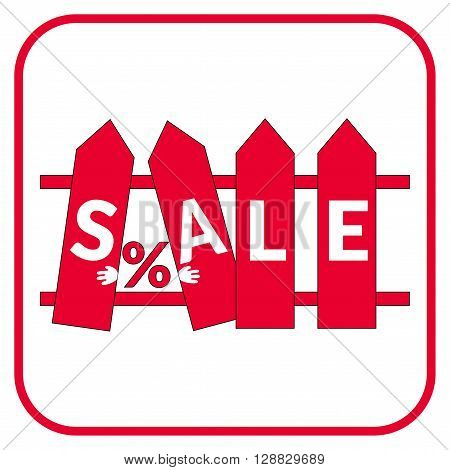 Colorful sale icon on the stylized fence. Icon for special offer. Sale typography background. Red fence with the sale label on a white background. Sale design template. Sticker with sale message