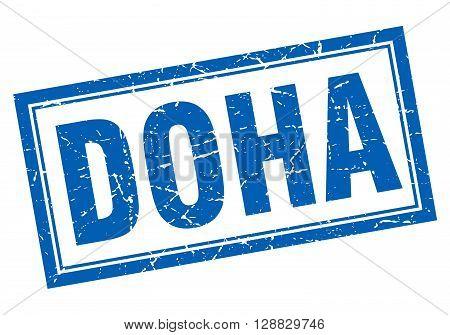 Doha blue square grunge stamp on white