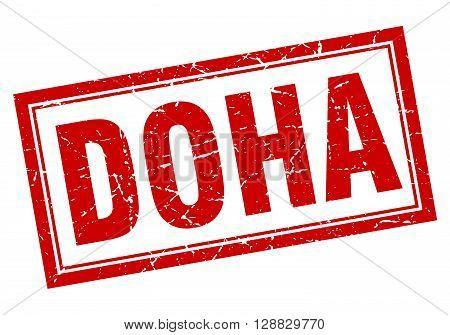 Doha red square grunge stamp on white