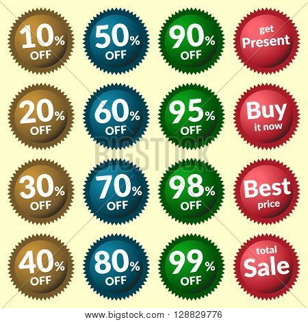 Red green brown and blue discount price tags on yellow background. Set of colorfull sale stickers and labels. Collection sale discount banner. Volume Design template with advertising message. Vector