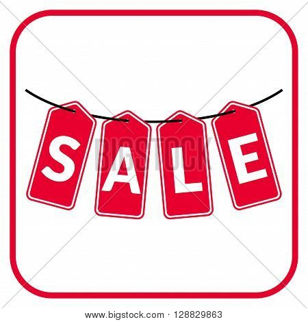 Red hanging sales tags isolated on white background. Sale savings labels set. Concept of discount shopping. Sale design template. Sticker with advertising message. Vector