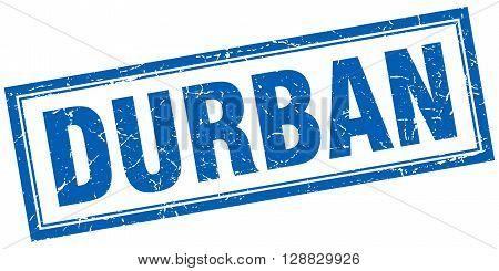 Durban blue square grunge stamp on white