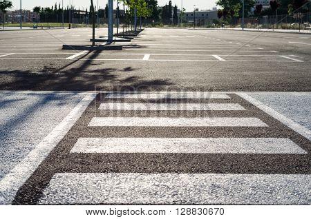 Empty parking lot , Parking lane outdoor in public park ** Note: Shallow depth of field