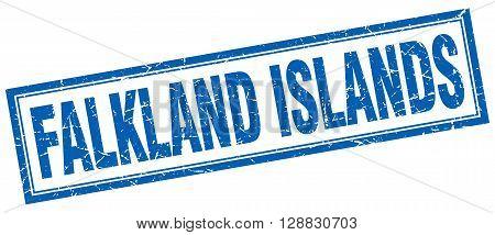 Falkland Islands blue square grunge stamp on white