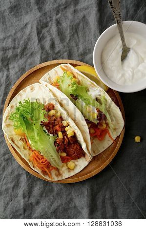 Overhead View Of Two Mexican Tacos With Ground Beef And Vegetables