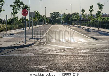 Empty parking lot , Parking lane outdoor in public park