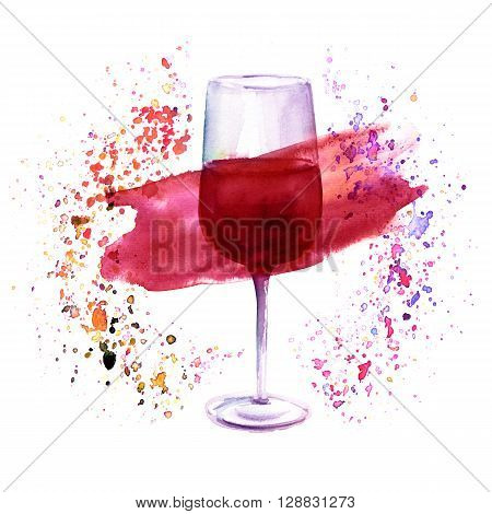 A watercolor illustration with a glass of red wine in a circle of splashed paint of various colors a festive design