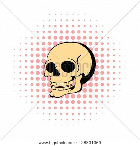 Human skull icon in comics style on a white background
