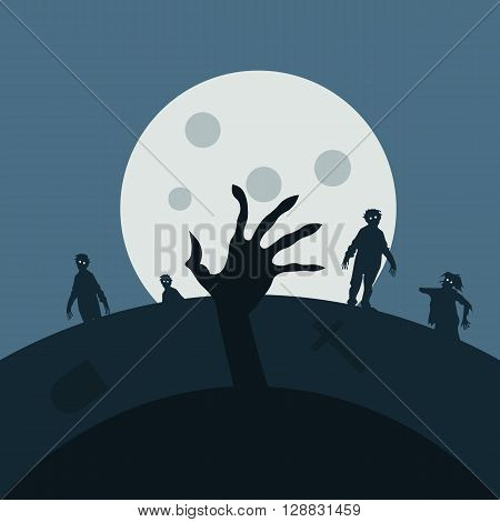 Zombie night background illustration Zombie hands, silhouettes, halloween background. Zombies night vector background
