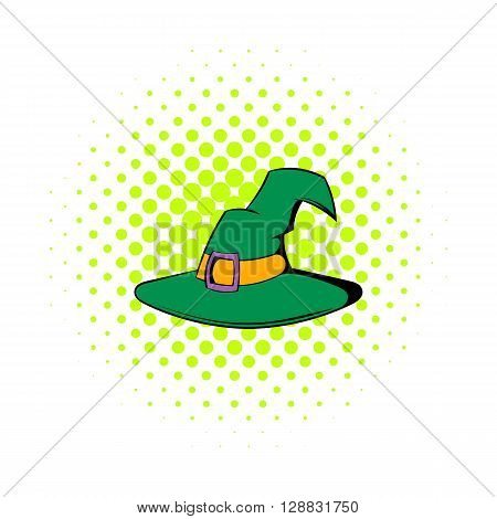 Witch hat icon in comics style on a white background