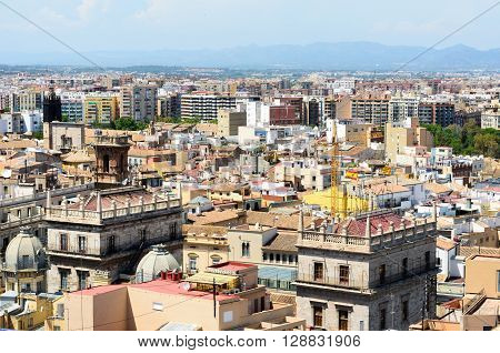 Areal view, as seen from the miguelete, on the streets in Valencia