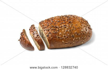 Loaf of wholemeal bread isolated on white background and cut healthy eating concept.