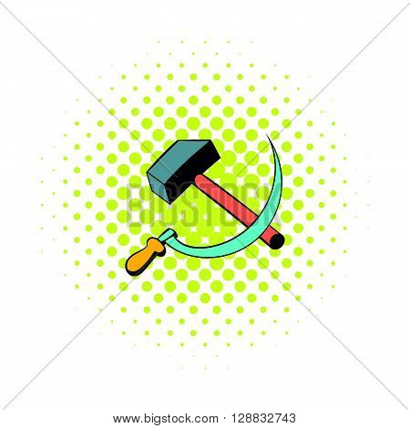 Sickle and the hammer icon in comics style on a white background