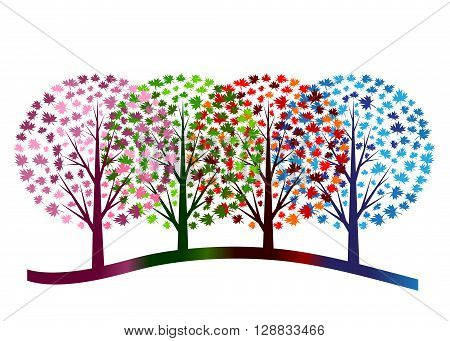 icon season. Four color trees designating summer, spring, winter and fall on a white background