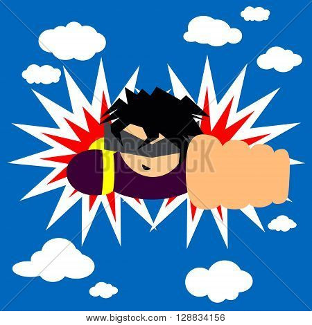 An illustration of a man who flies across the sky through the clouds in a superhero pose. Future concept. Vector.