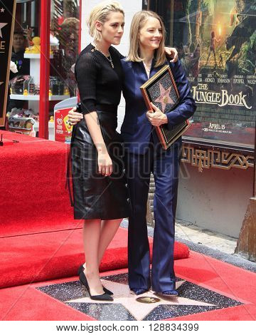 LOS ANGELES - MAY 4:  Kristen Stewart, Jodie Foster at the Jodie Foster Hollywood Walk of Fame Star Ceremony at the TCL Chinese Theater IMAX on May 4, 2016 in Los Angeles, CA
