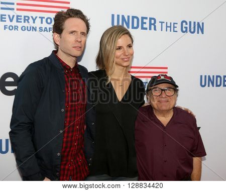 LOS ANGELES - MAY 3:  Glenn Howerton, Jill Latiano, Danny DeVito at the Under the Gun Premiere at the Samuel Goldwyn Theater on May 3, 2016 in Beverly Hills, CA