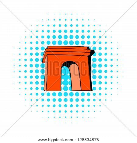 Triumphal arch, Paris icon in comics style on a white background