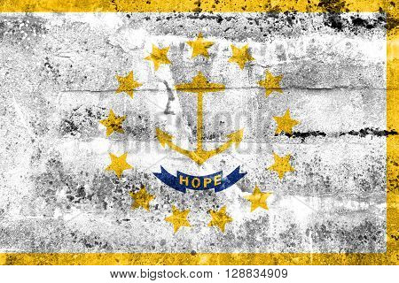 Flag Of Rhode Island, Painted On Dirty Wall. Vintage And Old Look.