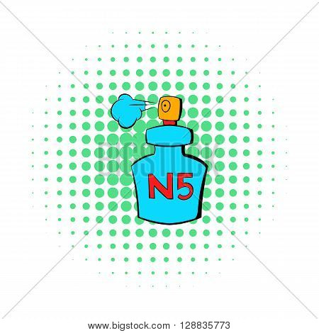 Bottle of Chanel No5 perfume icon in comics style on a white background