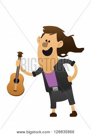 cartoon character cheerful guitarist with guitar fun