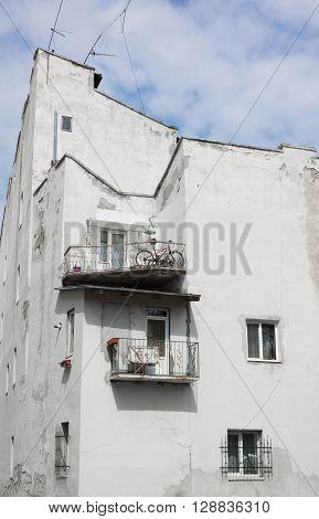 Unusual balconies of an old house. City of Lviv. Western Ukraine. Europe