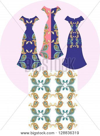 Card with beautiful indian female dresses. Ethnic seamless pattern with cute paisley birds. Fashion design. Vector illustration.