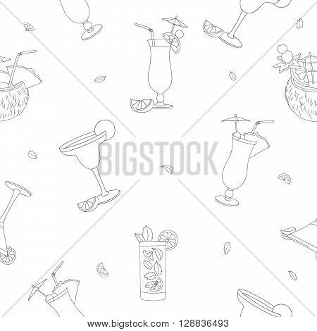 Seamless vector pattern of the different cocktails. Delicious summer alcoholic cocktails. Pina colada tequila sunrise margarita mojito coconut cosmopolitan. Vector illustration on white background.